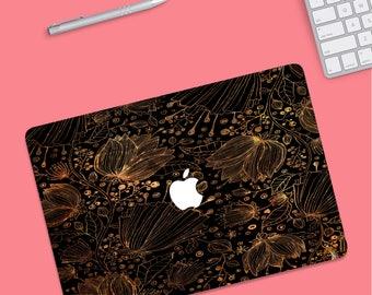 Gold Floral MacBook Pro Case, mac book case, MacBook Pro case, Macbook Pro 13 Case, Macbook Case, macbook air case, MacBook Air 13 hard case