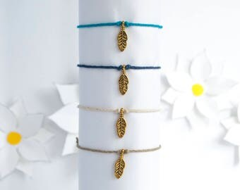 Feather Charm Simple Hemp Cord Bracelet [Stackable, Handmade, Adjustable]