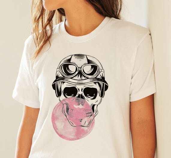 Sugar Skull with bubble gum | Unisex T-shirt | Apparel | Women / Men Clothing | Personalized T-shirt | Halloween Party | Graphic Tee |