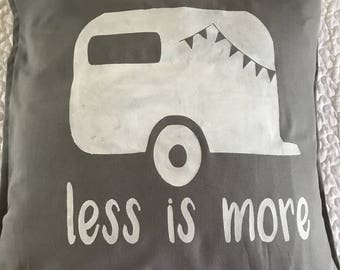 Less is More Vintage Camper Trailer rustic pillow