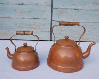 Vintage Copper Kettle By Argy Europe set of two