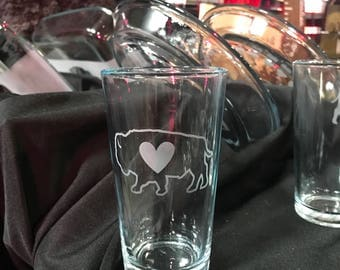 Buffalo NY pint glasses etched 716 buffalove