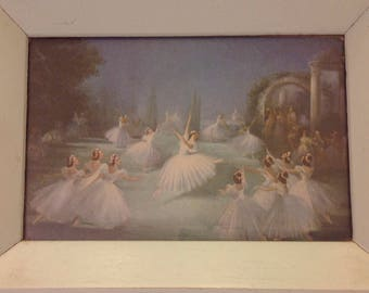 Small framed vintage 50 s ballet watercolour print