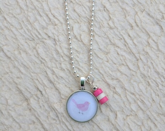 Necklace. Sweet birthday gift. Pink Bird Necklace. Silver Necklace.