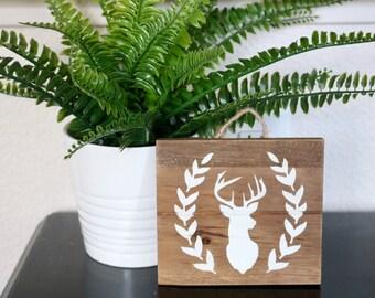 Deer sign, deer decor, deer wood art, wood art, wood sign, deer decor, rustic wood sign, wall art, wood wall art, woodland wall art