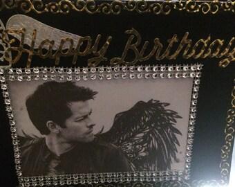 Castiel (misha Collins ) Supernatural inspired handmade birthday card!