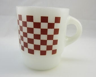 Checkerboard Brown Pattern Fire-King Coffee Mug Vintage Fire King