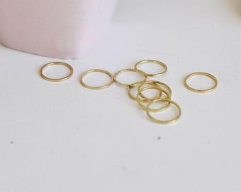 50 round raw brass connectors - set of 50 round connectors in raw brass