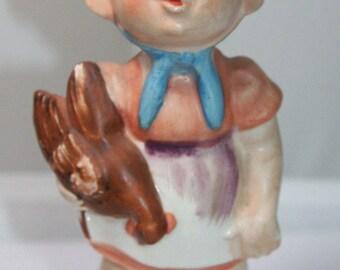 Vintage Lipper & Mann Creations Figurine Litte Girl Holding a Chicken Made in Japan