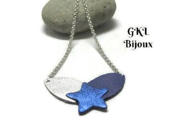 Necklace leather, silver and blue petals King Star Blue Metallic, mesh chain jaseron, snap clasp