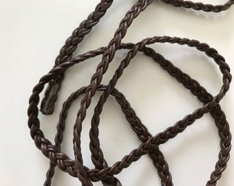 Faux leather braided 5 mm wide ribbon