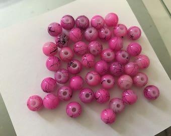 Pink 8 mm glass round bead