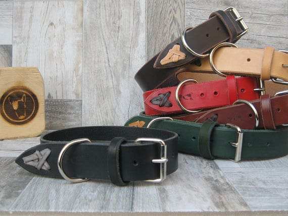 Black Leather Dog Collar, Ideal for Medium and Large Size , Colorful Dog collar, Handmade Dog Collar, Plain Dog Collar, Boy Dog Collar