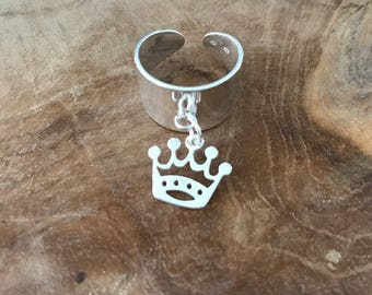 Crown ring in Silver 925 with charm