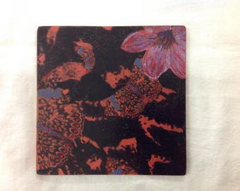Red butterfly and cherry blossom single coaster