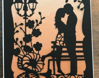 Handmade Romantic silhouette card with sunset sky