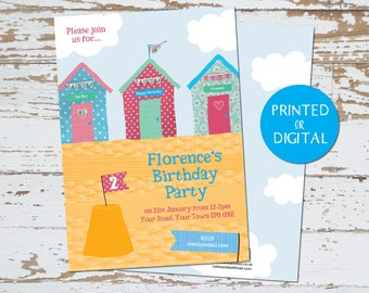 Invites - Personalised Beach Huts Seaside Birthday Invites - Printed or Digital