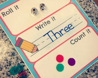 Roll, Write, Count Math Game Printable Download