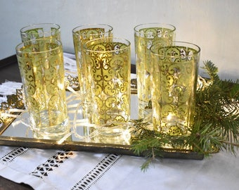 6 Vintage Green & Gold Embossed Tumblers/ Culver Libby Style/Cocktail Glasses/Barware