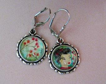 GEISHA earrings, hand painted Oriental FLAVOR ...