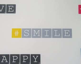 """Wall decal """"#SMILE"""" grey and yellow - Medium - Scrabble letters"""