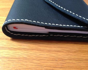 Black Leather Journal Cover with Notebook 5x8.25in