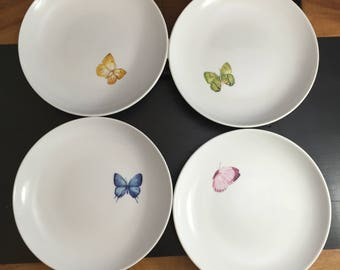 Set of 4 Easter Springtime Decor Pottery Barn Butterfly Dessert Plates yellow blue pink green