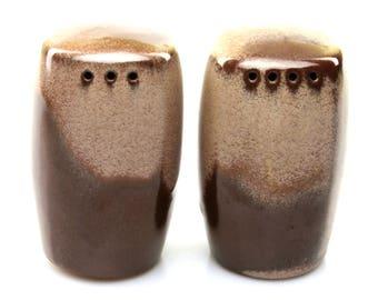 Vintage Frankoma Plainsman Brown Satin Salt and Pepper Shaker Set