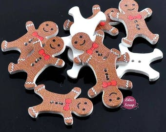 5 buttons wooden gingerbread man gingerbread Christmas - 2 hole 3 cm