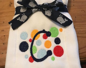 Personalized Embroidered Burp Cloth monogrammed