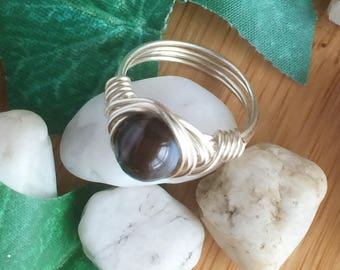 Hand made wire ring with Banded Agate Bead