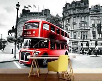 London bus wallpaper, London bus wall mural, London bus wall decal, London wallpaper, London wall mural, London wall decal, street wallpaper