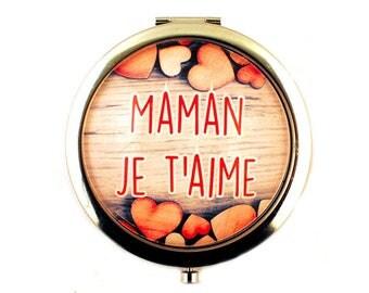 Pocket mirror - Mama ICH Liebe Dich (wood)