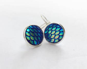 Mermaid Earrings - Irrecescent Surgical Steel - mermaid jewelry, mermaid scales, mermaid earrings, secretly a mermaid, custom earrings