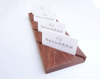 Wooden Multiple Diagonal Cutted Business Card Holder. 4 x 1 Slot. Wood Paper Stand. Wood Calendar Stand. Jatoba wood.