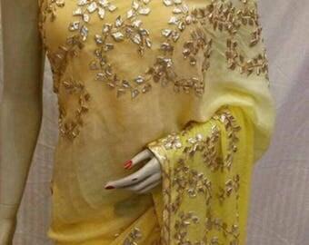 Ethnic Rajasthani Gotta Patti work on Pure Chiffon Saree: FREE shipping in USA