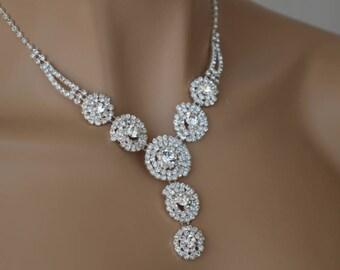 Rhinestone Jewelry Set, Wedding Necklace, bridal jewelry set, wedding jewelry set, bridesmaid jewelry set.