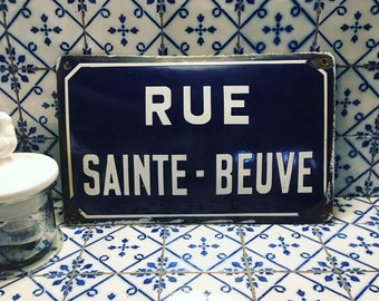 French enamelled porcelain street plate. RUE SAINTE-BEUVE. 1940s. Blue and white enamel. Enamel ware. French enamel. Industrial decor.
