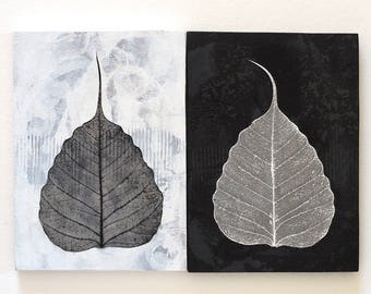Leaf wall art diptych, mixed media on reclaimed plywood, black and white leaves, abstract handmade minimalist zen decor