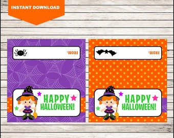 Witch Halloween Bag Toppers - Halloween Birthday Bag Toppers - Halloween Bag Labels - Halloween Treat Bags - Treat tags