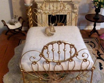 "NEW DESIGNS!  Artisan Made Dollhouse Miniature Wrought Iron Look Bed ""JONQUIL"" 1:12 Scale Twin and Full, Half Scale"