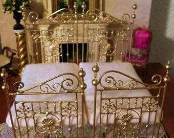 "Artisan Made Dollhouse Miniature Wrought Iron Look Bed  ""CHARLESTON TWIN SET""  1:12 Scale, Half Scale"