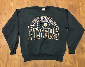 Vintage Philadelphia Flyers crewneck sweater XL 1990's Big logo Graphics All over Print NHL Hockey Sixers eagles crewneck