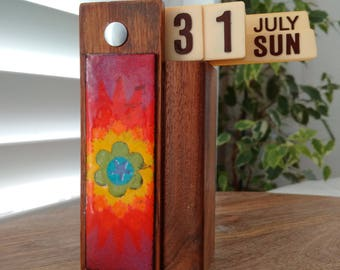 Vintage  Wood and Plastic Perpetual Calendar