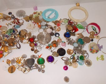Broken Jewelry Assortment, Earrings, Bracelets,  Charms, 1.5 pounds of Bits and Pieces for Remake and Repurpose Crafts