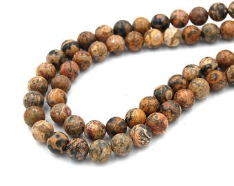 "Two 15"" strands Leopard Skin Jasper 8mm"