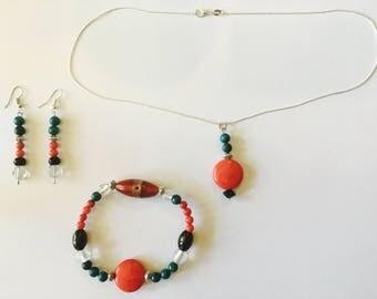 Glass Bead and Stone Jewelry Set