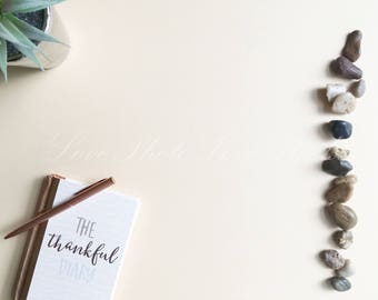 Rose gold gratitude flatlay - for use in branding, marketing and general social media use. Set of 4