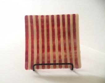 Coral & Cream Handmade Glass Plate