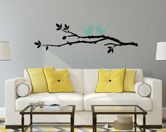 Birds on Tree Branch with Leaves Multi-Colored Home and Family Vinyl Wall Quote